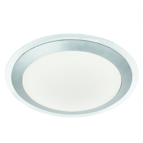 Led Bathroom Ip44 Flush, Clear & Silver, White Shade 7684-33Si